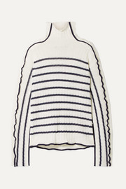 Sies Marjan Harrie canvas-trimmed striped ribbed linen turtleneck sweater