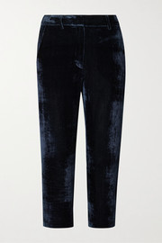 Willa cropped silk and cotton-blend corduroy straight-leg pants