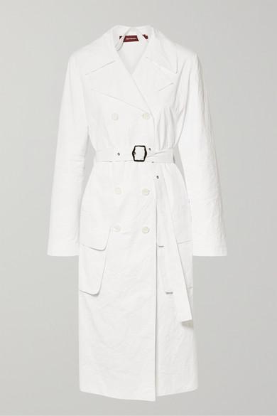 SIES MARJAN Nisa Crinkled-Ripstop Trench Coat in White