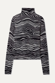 Roos cashmere-blend jacquard and Lurex turtleneck sweater
