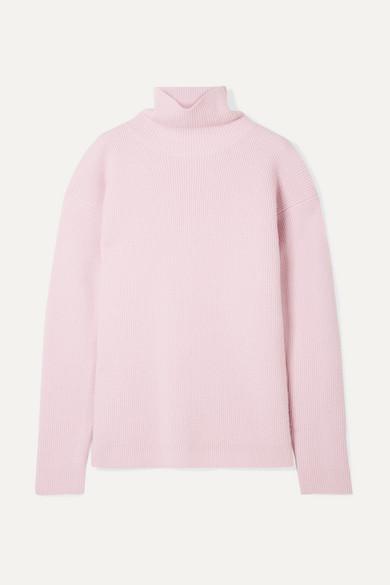 SIES MARJAN Wolf Ribbed Wool Turtleneck Sweater in Pastel Pink