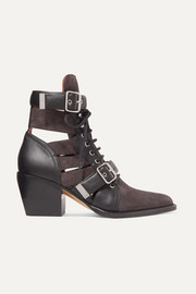 Chloé Rylee cutout leather and suede ankle boots