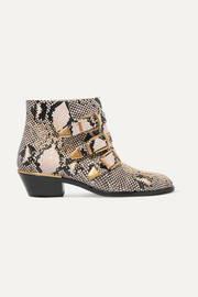 Susanna studded snake-effect leather ankle boots