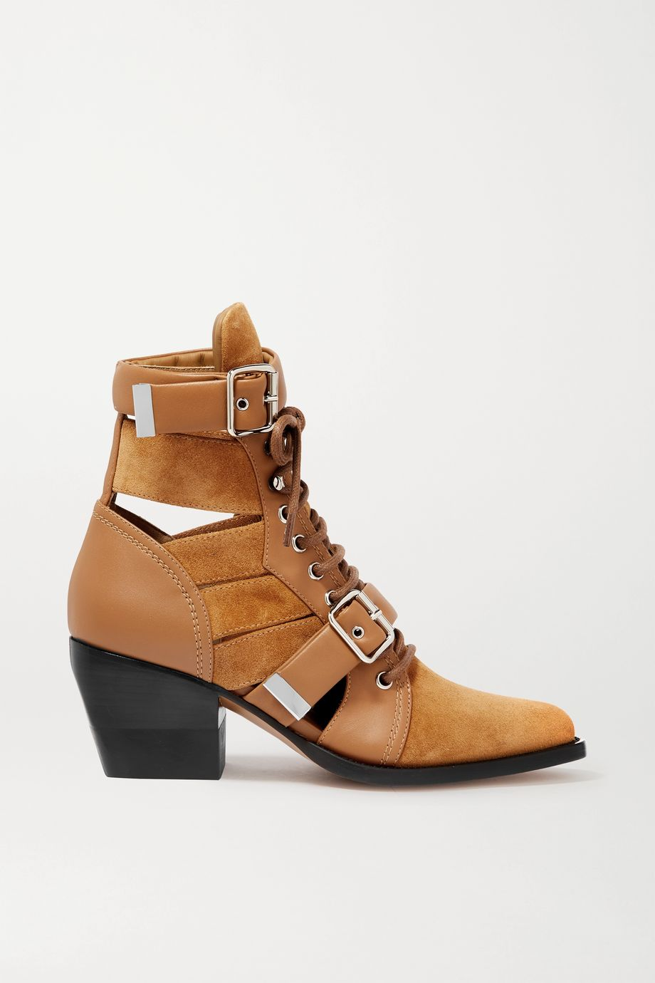 Chloé Rylee cutout suede and leather ankle boots