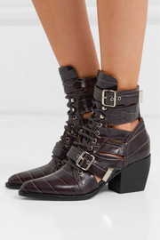 Rylee cutout croc-effect leather ankle boots
