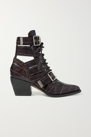 Chloé Rylee cutout croc-effect leather ankle boots