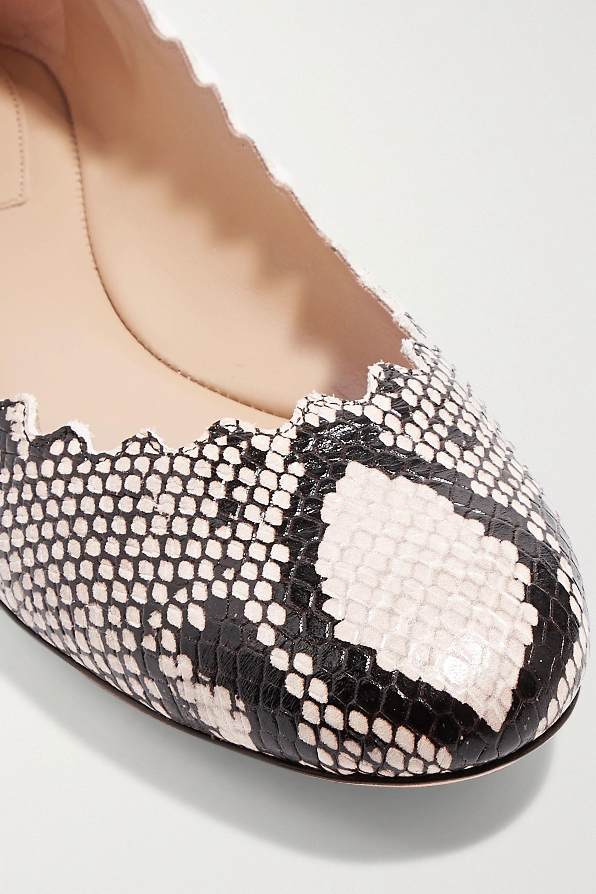 Chloé Lauren scalloped snake-effect leather ballet flats