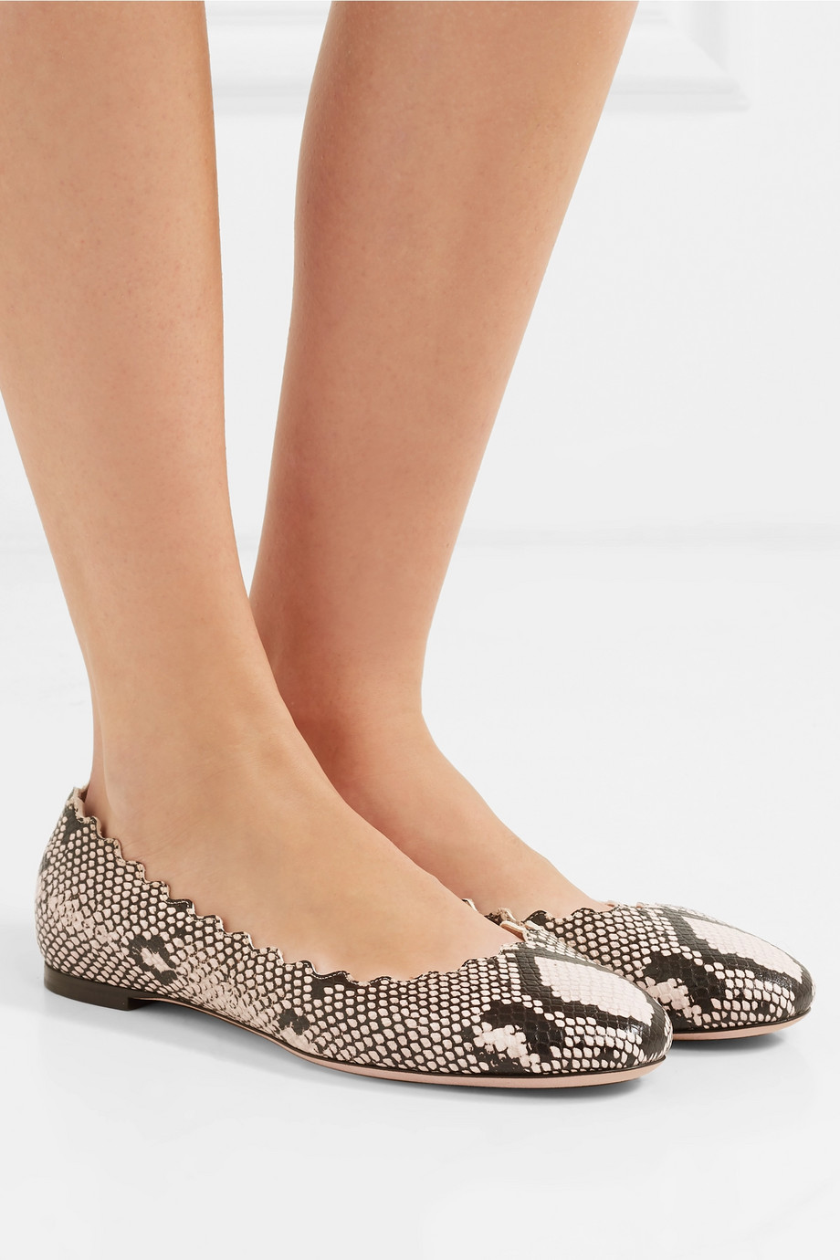 Chloé Lauren scalloped snake-effect leather ballet flats