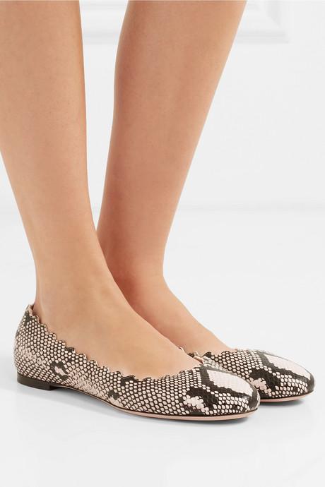 Lauren scalloped snake-effect leather ballet flats