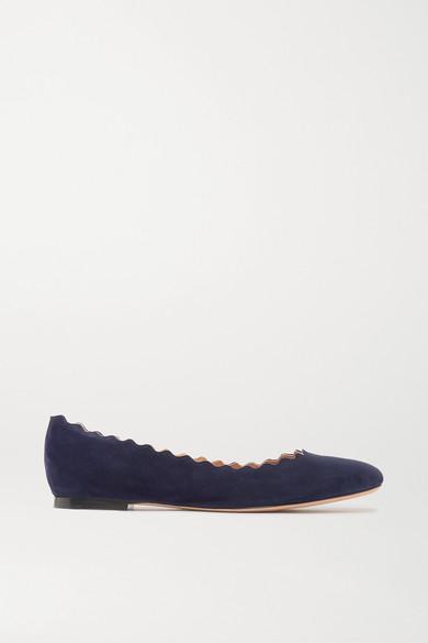 CHLOE | Chloé - Lauren Scalloped Suede Ballet Flats - Navy | Goxip