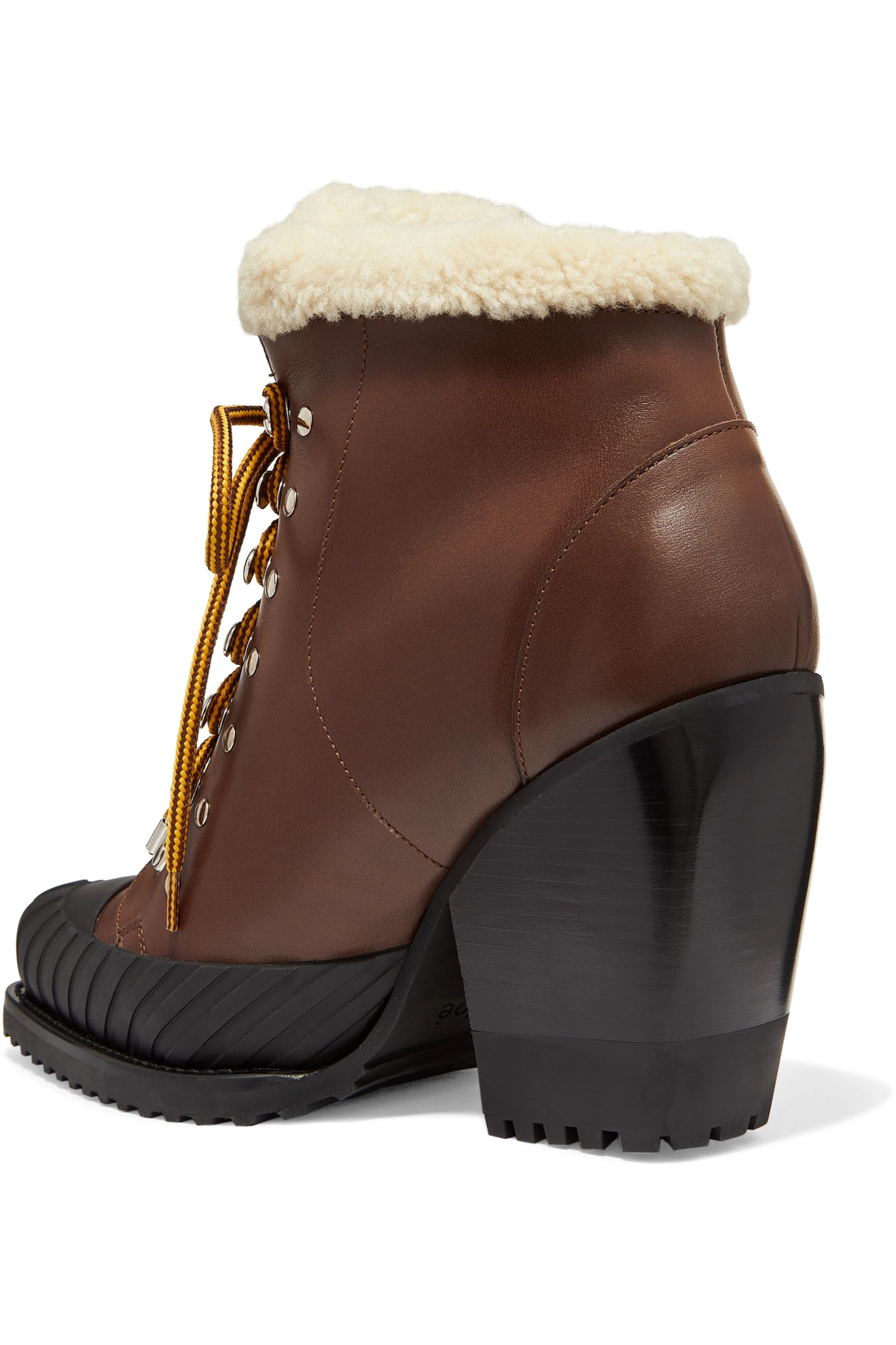 Chloé Rylee shearling-trimmed leather and rubber ankle boots