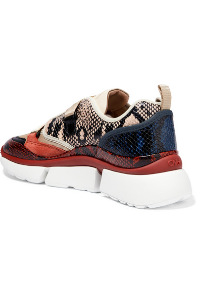 Chloé | Sonnie canvas, mesh, suede and