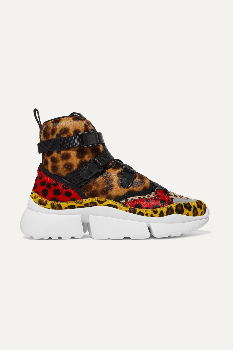 Chloé Sonnie High-Top-Sneakers aus Kalbshaar mit Leopardenprint