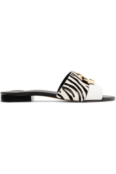 Leather And Zebra Print Calf Hair Slides by Chloé