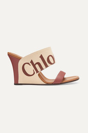 Chloé Verena logo-print canvas and leather wedge sandals