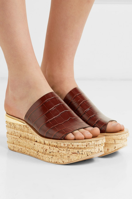Camille croc-effect leather wedge sandals