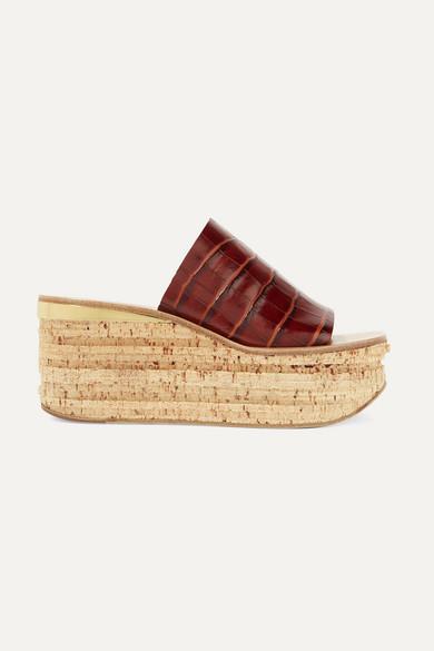 Camille Crocodile-Effect Leather Flatform Sandals in Dark Brown