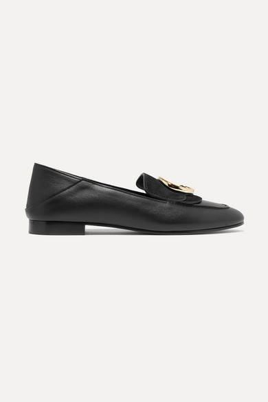 Logo-Embellished Suede And Leather Collapsible-Heel Loafers in Black
