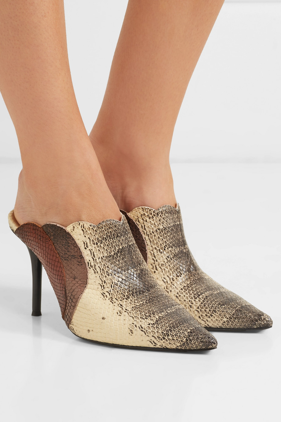 Chloé Lauren scalloped snake-effect leather mules