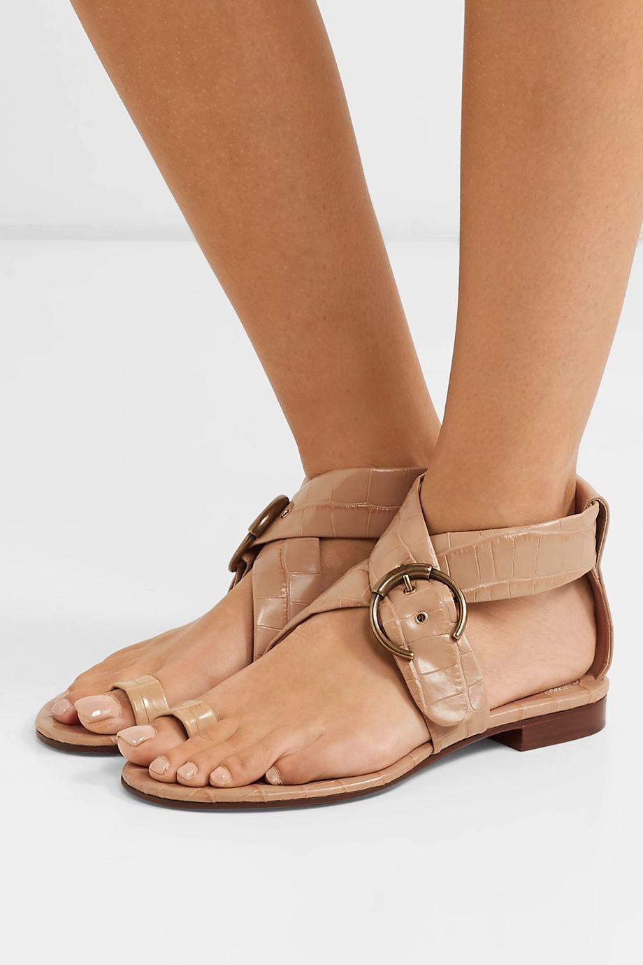 Chloé Roy buckled croc-effect leather sandals