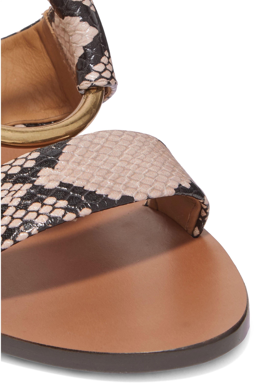 Chloé Rony embellished snake-effect leather sandals
