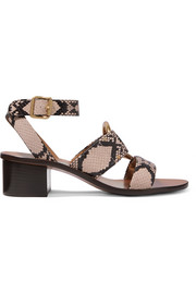 Rony embellished snake-effect leather sandals