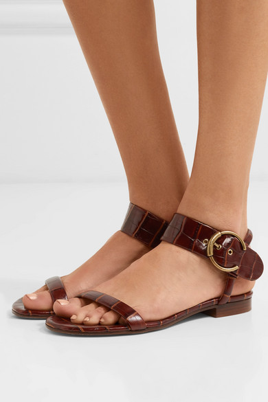 767cb67801 Chloé | Roy croc-effect leather sandals | NET-A-PORTER.COM
