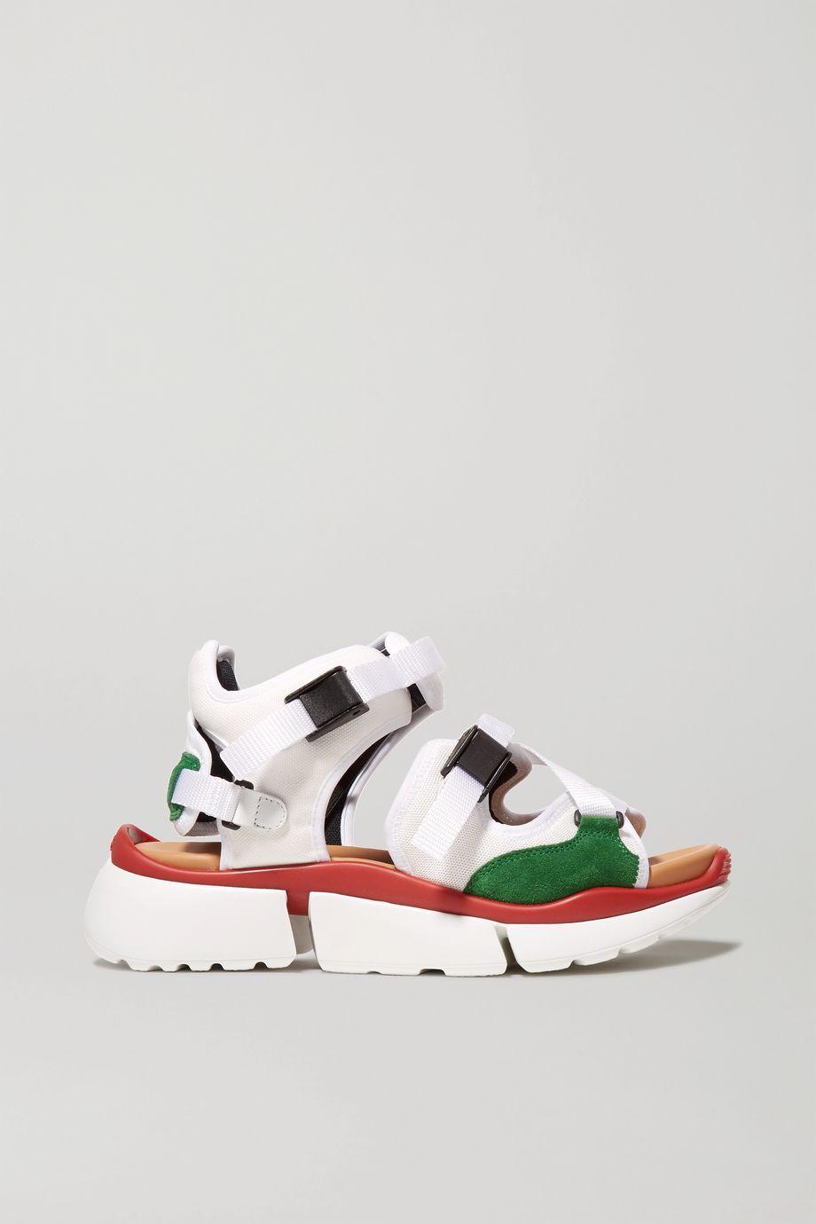 Chloé Sonnie canvas, mesh and suede sandals