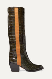 Chloé Vinnie croc-effect leather knee boots