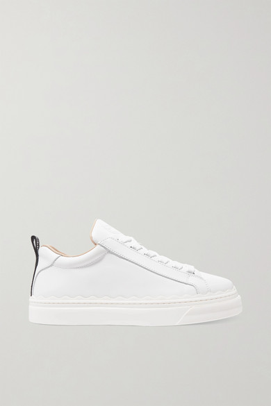 ChloÉ Lauren Scallop-edge Leather Trainers In White