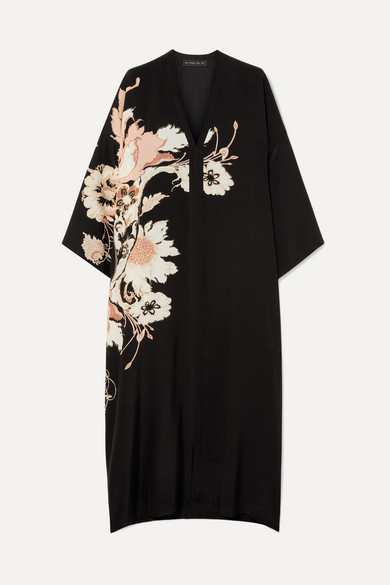 Floral-Print Silk Crepe De Chine Midi Dress in Black