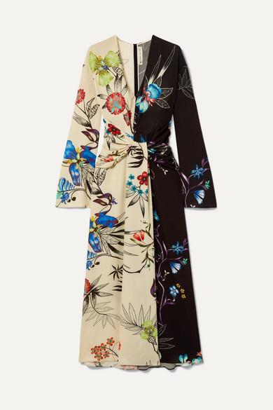 Long-Sleeve Floral-Print Bi-Color V-Neck Shirred Wrap Dress in Cream