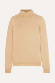 Metallic wool-blend turtleneck sweater