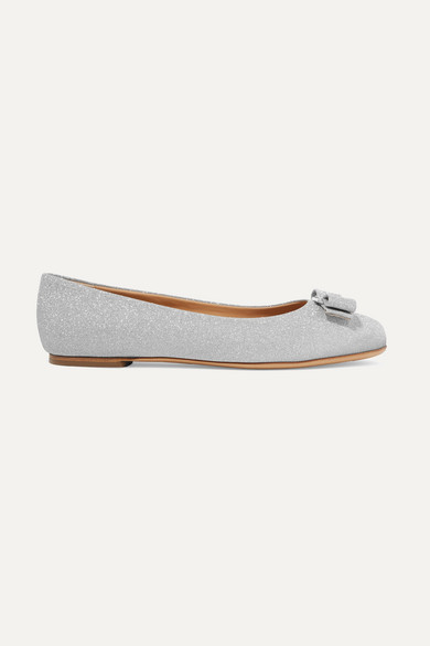 7458f1b194 Salvatore Ferragamo Varina Bow-Embellished Glittered Leather Ballet Flats  In Silver