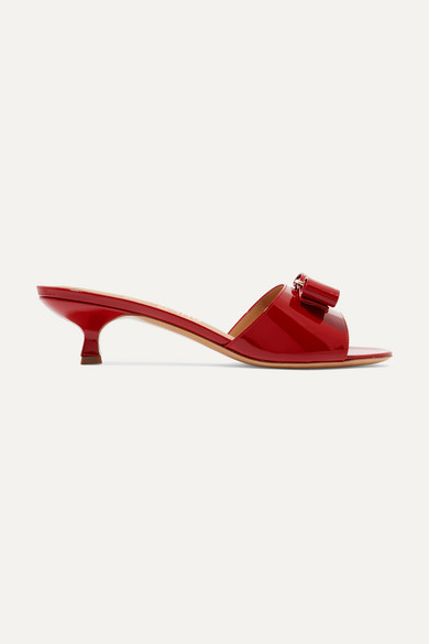 Salvatore Ferragamo Women's Ginostra Patent Leather Kitten-Heel Sandals In Red