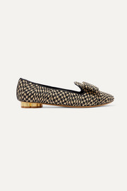 Sarno bow-detailed woven straw loafers