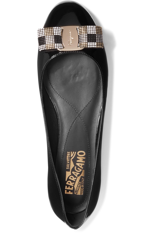 Salvatore Ferragamo Varina studded bow-embellished patent-leather ballet flats