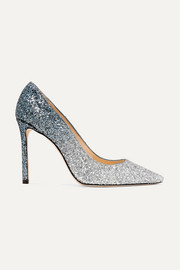 Romy 100 dégradé glittered suede pumps