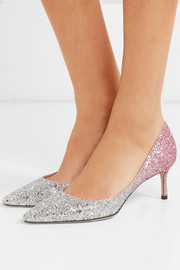 Romy 60 glittered leather pumps