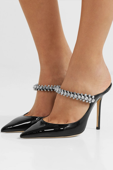 f269c30c476a Jimmy Choo. Bing 100 crystal-embellished patent-leather mules