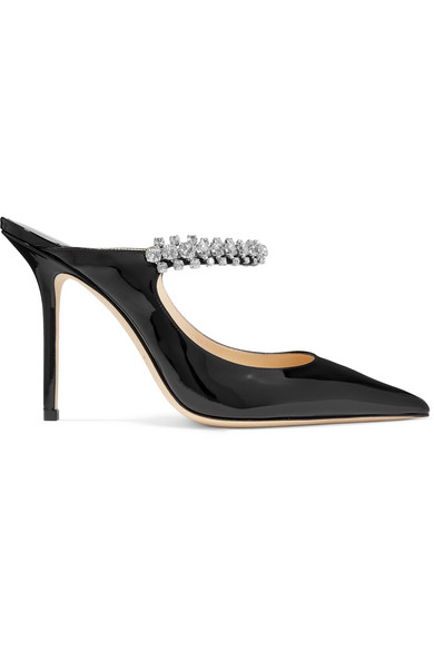 Bing 100 Black Patent Leather Mules With Crystal Strap