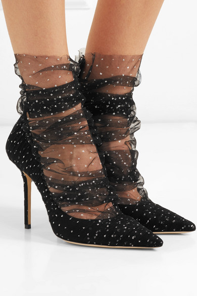 Jimmy Choo Pumps Lavish 100 glittered tulle and suede pumps