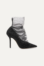 Lavish 100 glittered tulle and suede pumps