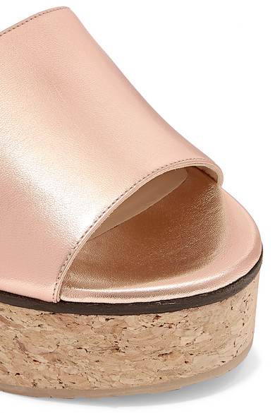 Jimmy Choo Mules Deedee 75 metallic leather wedge mules