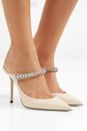 Bing 100 crystal-embellished patent-leather mules