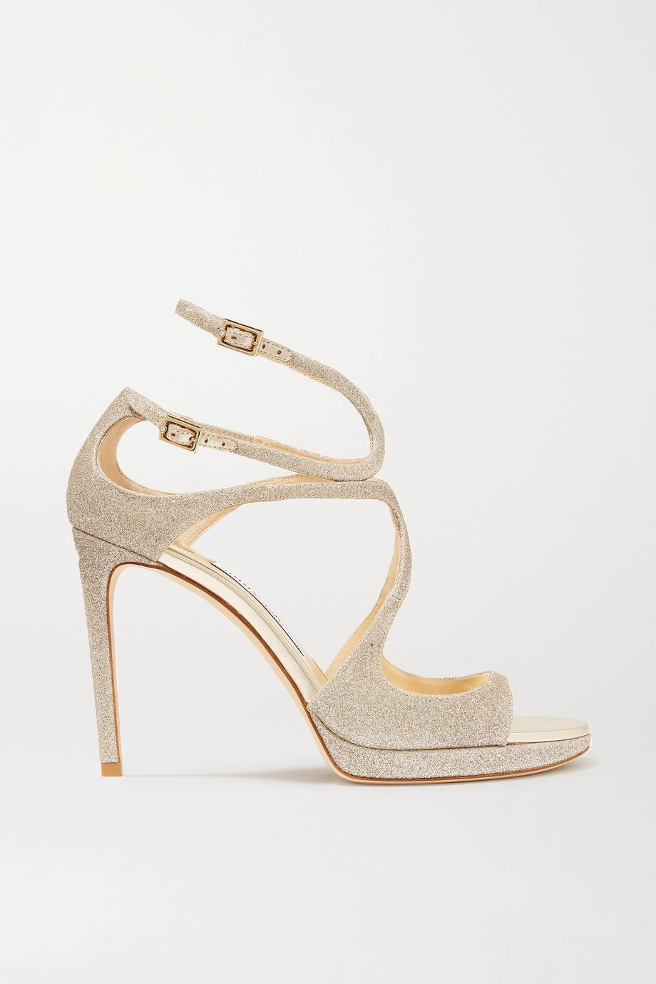 Jimmy Choo Lance 100 glittered leather platform sandals