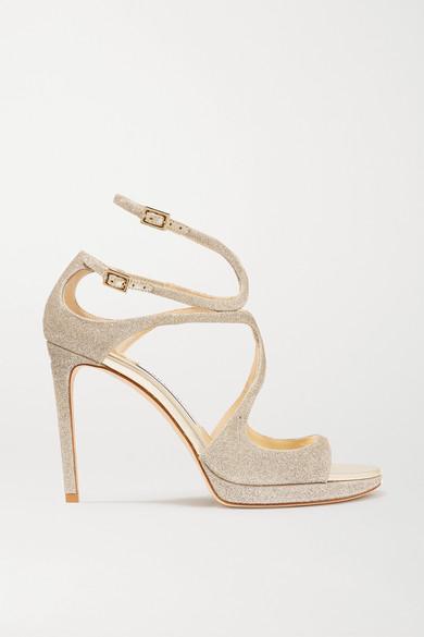 a43ddede2ea Jimmy Choo. Lance 100 glittered leather platform sandals