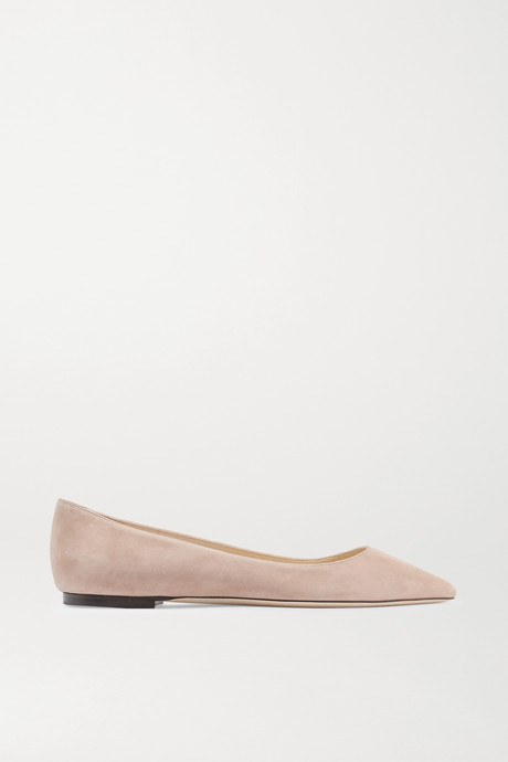 Antique rose Romy suede point-toe flats | Jimmy Choo zusrs0