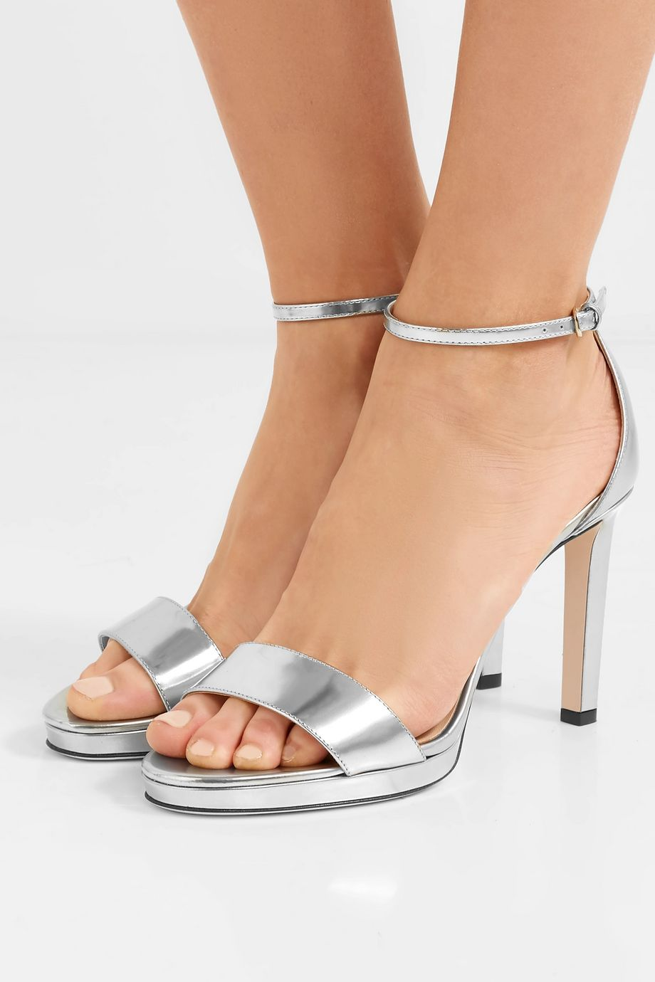Jimmy Choo Misty 100 metallic leather platform sandals