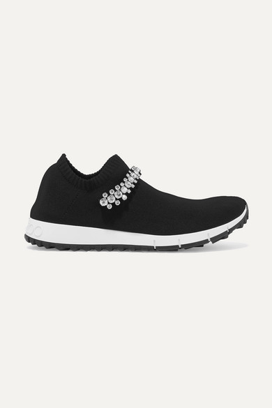 Veronica Crystal-Embellished Stretch-Knit Sneakers in Black